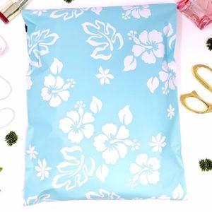 20 10x13 Hawaiian sky blue design poly mailer